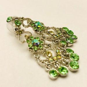 Jewelry - Green Gemstone Dangle Earnings